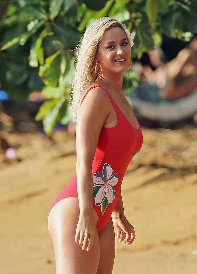 Katy Perry - Hot Boobs in a Red Swimsuit